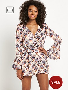 definitions-fluted-sleeve-printed-playsuit