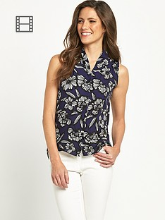 savoir-sleeveless-button-front-top