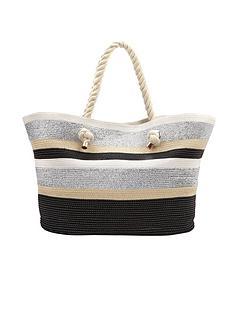 metallic-striped-straw-beach-bag