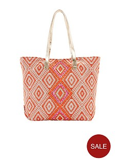 coral-aztec-embellished-beach-bag