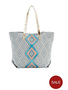 aztec-print-embellished-beach-bag-turquoise