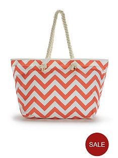 canvas-chevron-printed-beach-bag-coral