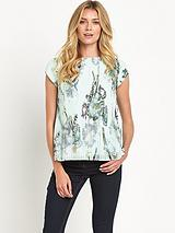 Torchlit Floral Pleated Top