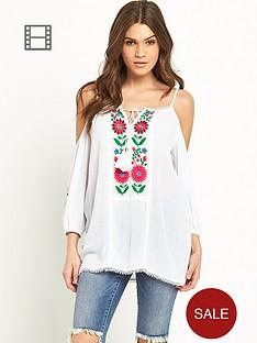 glamorous-cold-shoulder-embroidered-tassel-cami