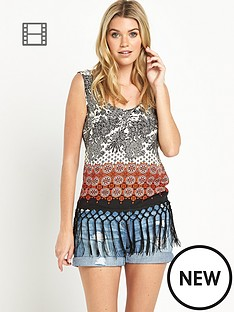 south-mixed-tile-printed-fringe-vest