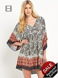 south-v-neck-mixed-tile-printed-smock-dress