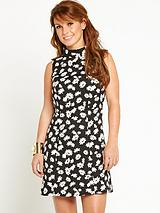 Floral Jacquard High Neck Dress