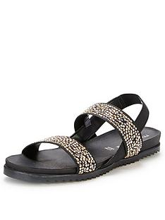 moda-in-pelle-nazarro-black-elastic-flat-sandals