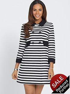 rochelle-humes-three-quarter-sleeve-stripe-a-line-coat