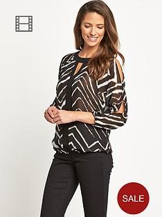 savoir-split-sleeve-printed-blouse