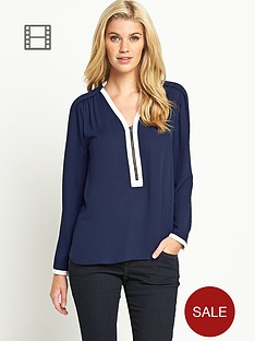 south-contrast-trim-zip-front-blouse