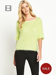 south-fluffy-roll-sleeve-knit-jumper