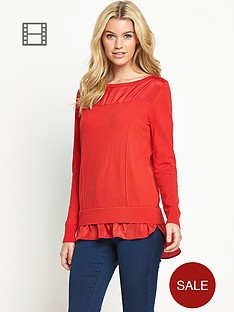 south-curved-hem-woven-mix-knitted-top