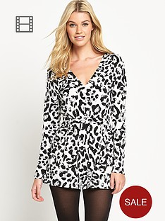 south-animal-print-long-sleeve-playsuit