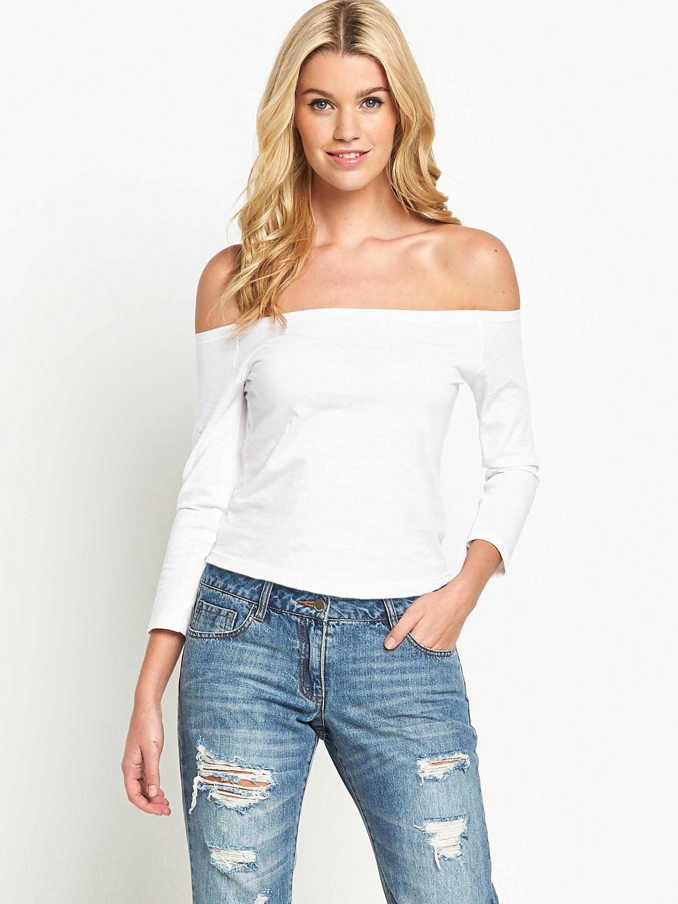 Long Sleeve Bardot Top, White at Littlewoods