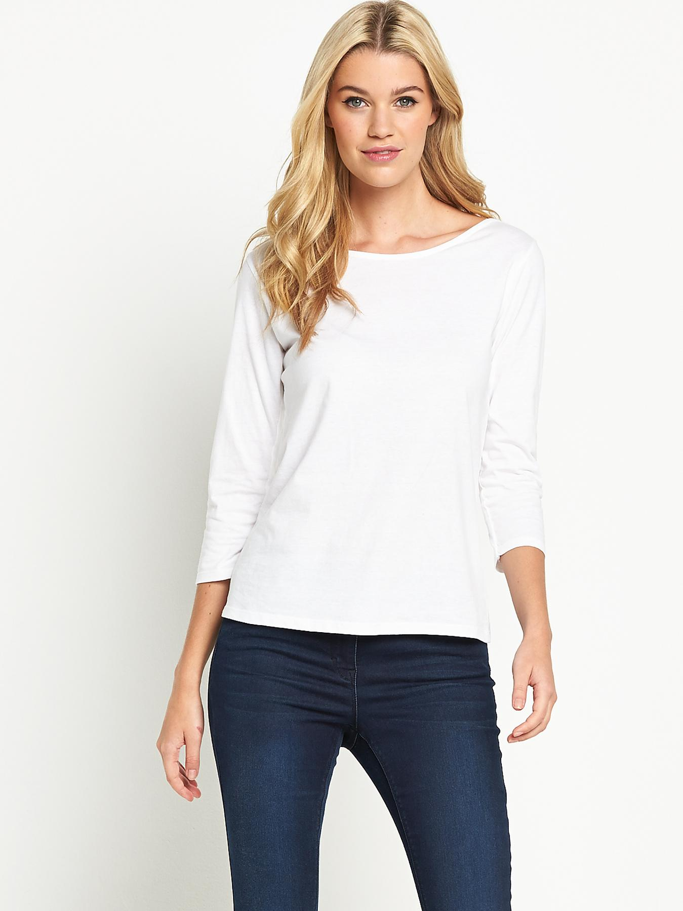 Three-quarter Sleeve Top, White,Black,Grey at Littlewoods