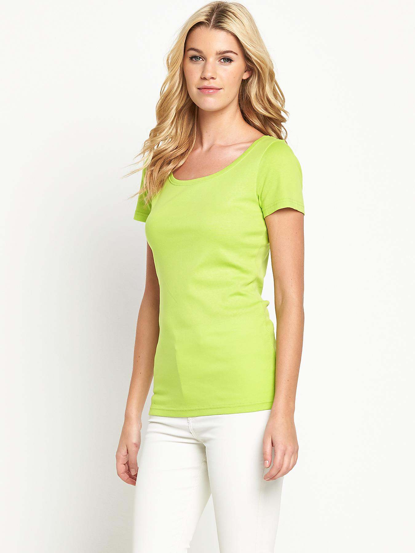 Short Sleeve Scoop T-shirt, Pink,Lime at Littlewoods