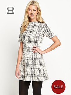 south-cut-and-sew-checked-funnel-neck-skater-dress