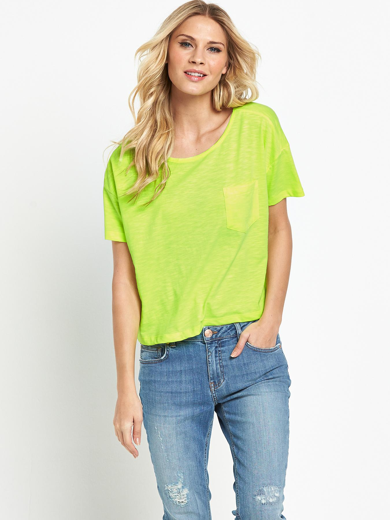 Boxy T-shirt, Pink,Black,White,Neon at Littlewoods