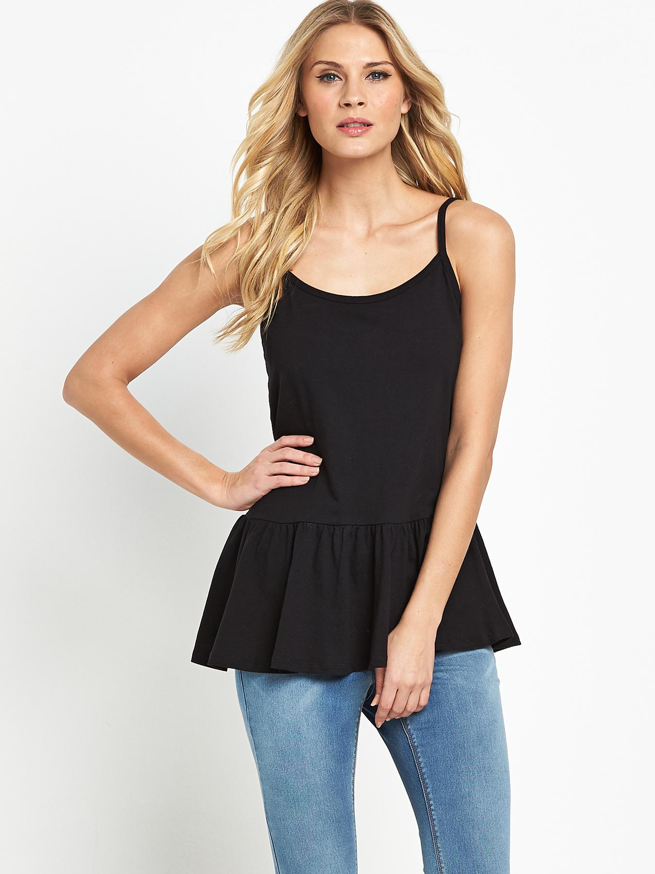Peplum Cami Top, Black,Neon,White at Littlewoods