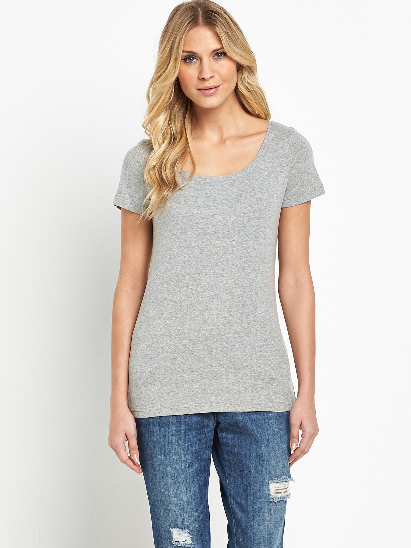 Short Sleeved Scoop T-shirt, Grey,White,Navy,Black at Littlewoods
