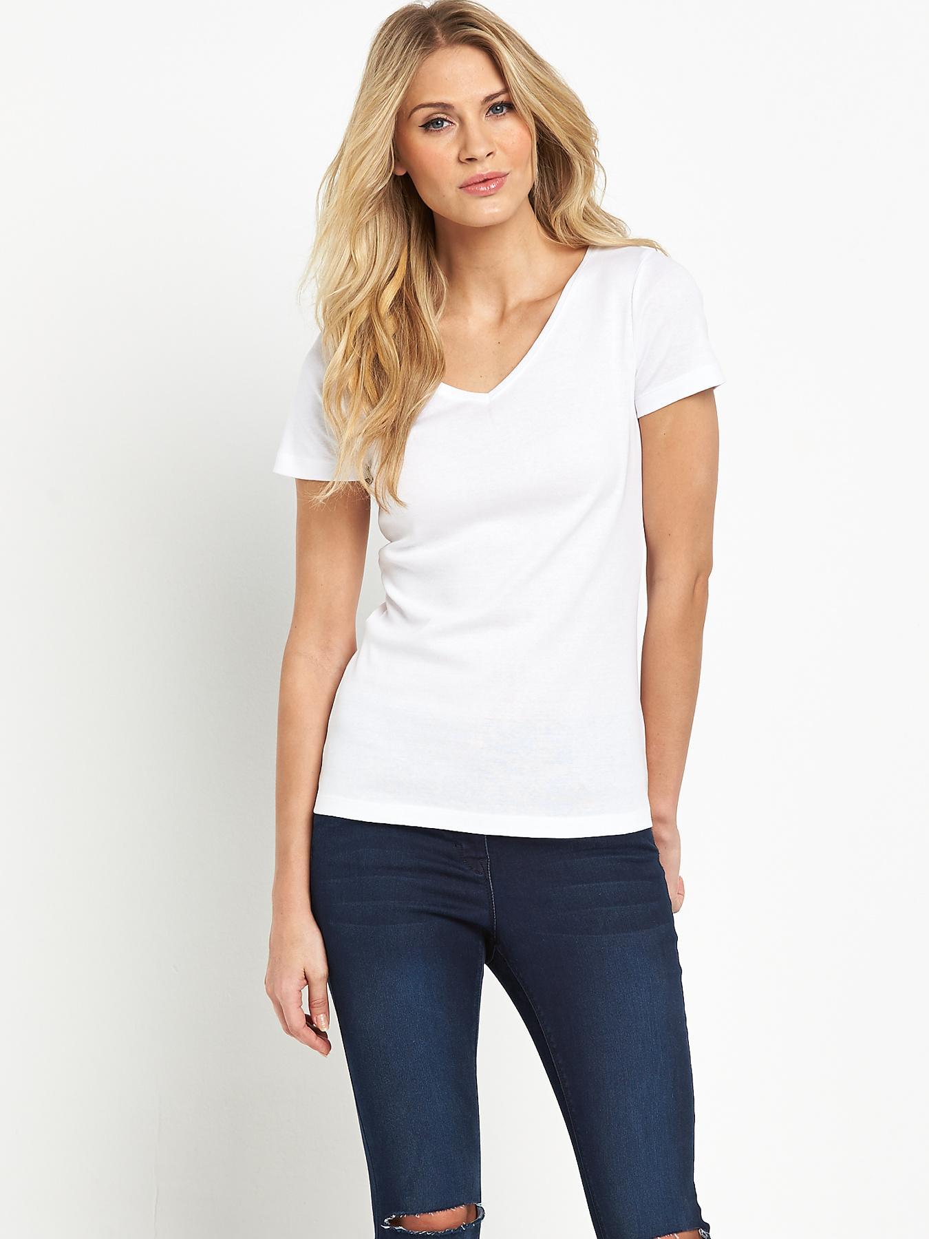 Short Sleeved V-Neck Rib T-shirt, Navy,White,Black,Khaki,Grey at Littlewoods