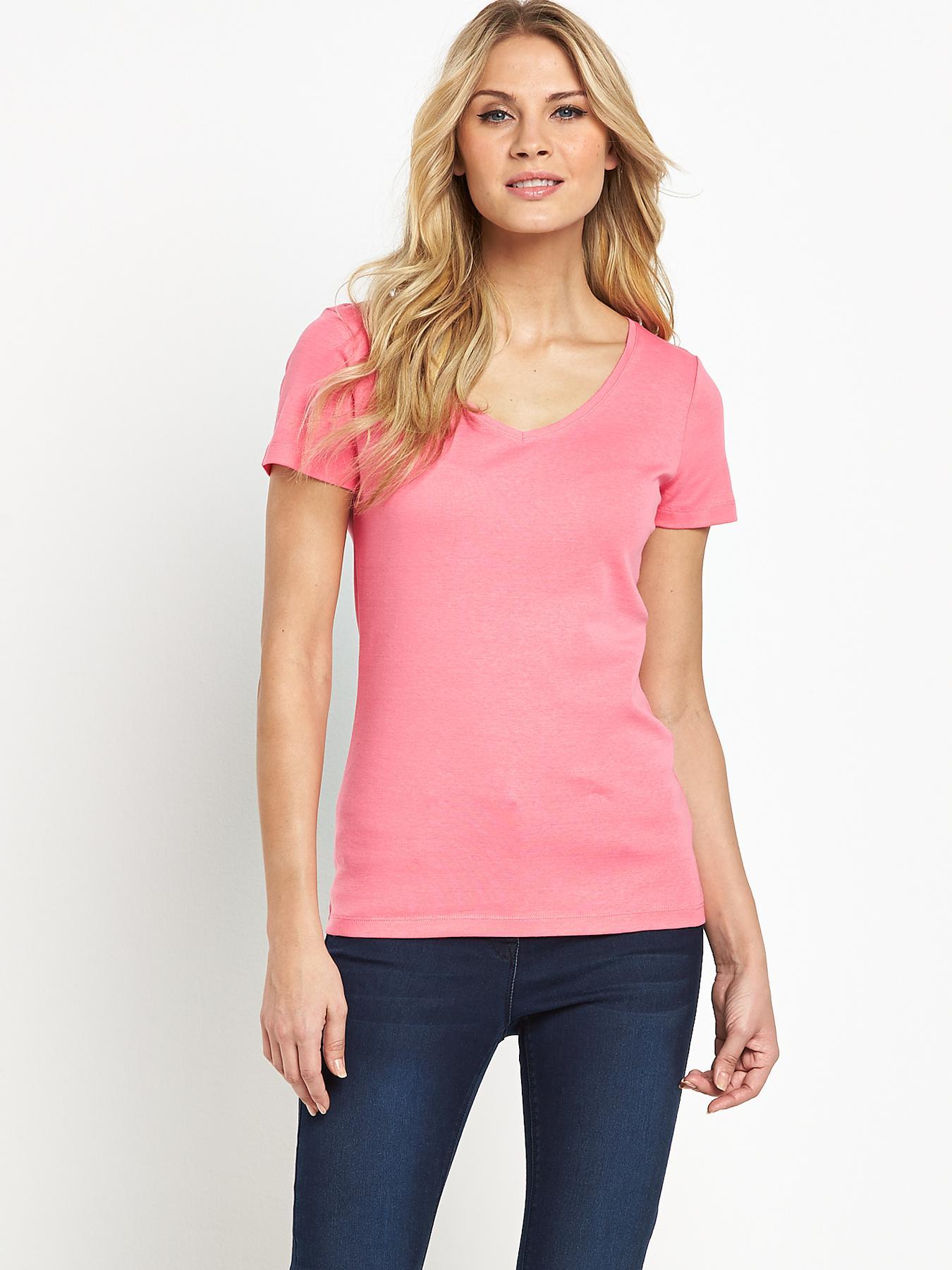 Short Sleeved V-Neck Rib T-shirt, Pink at Littlewoods