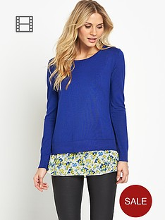 south-print-chiffon-insert-jumper