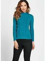 Ruffle Front Fitted Knit Turtle Neck Jumper