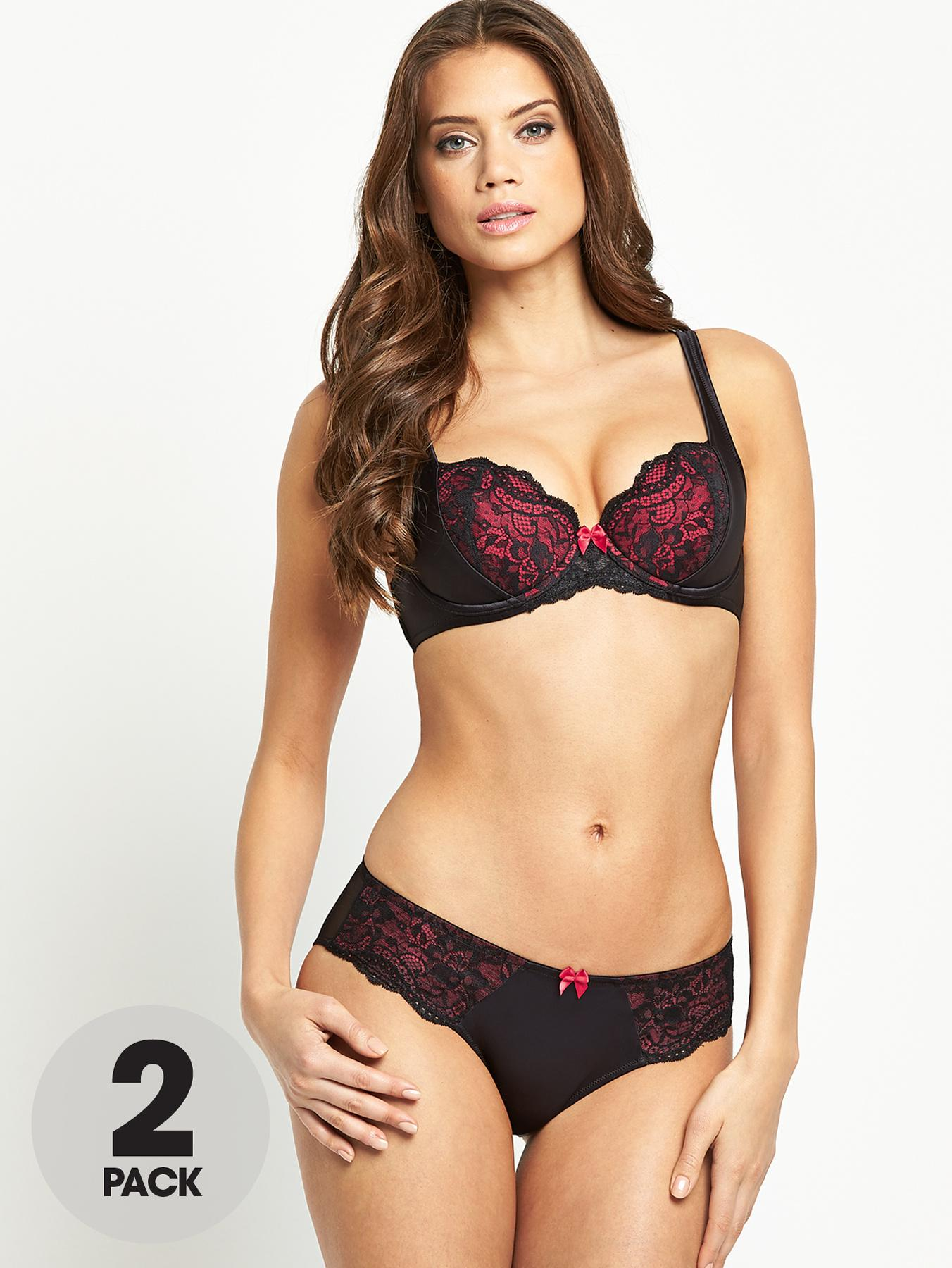 Satin and Lace Briefs (2 Pack), Black at Littlewoods