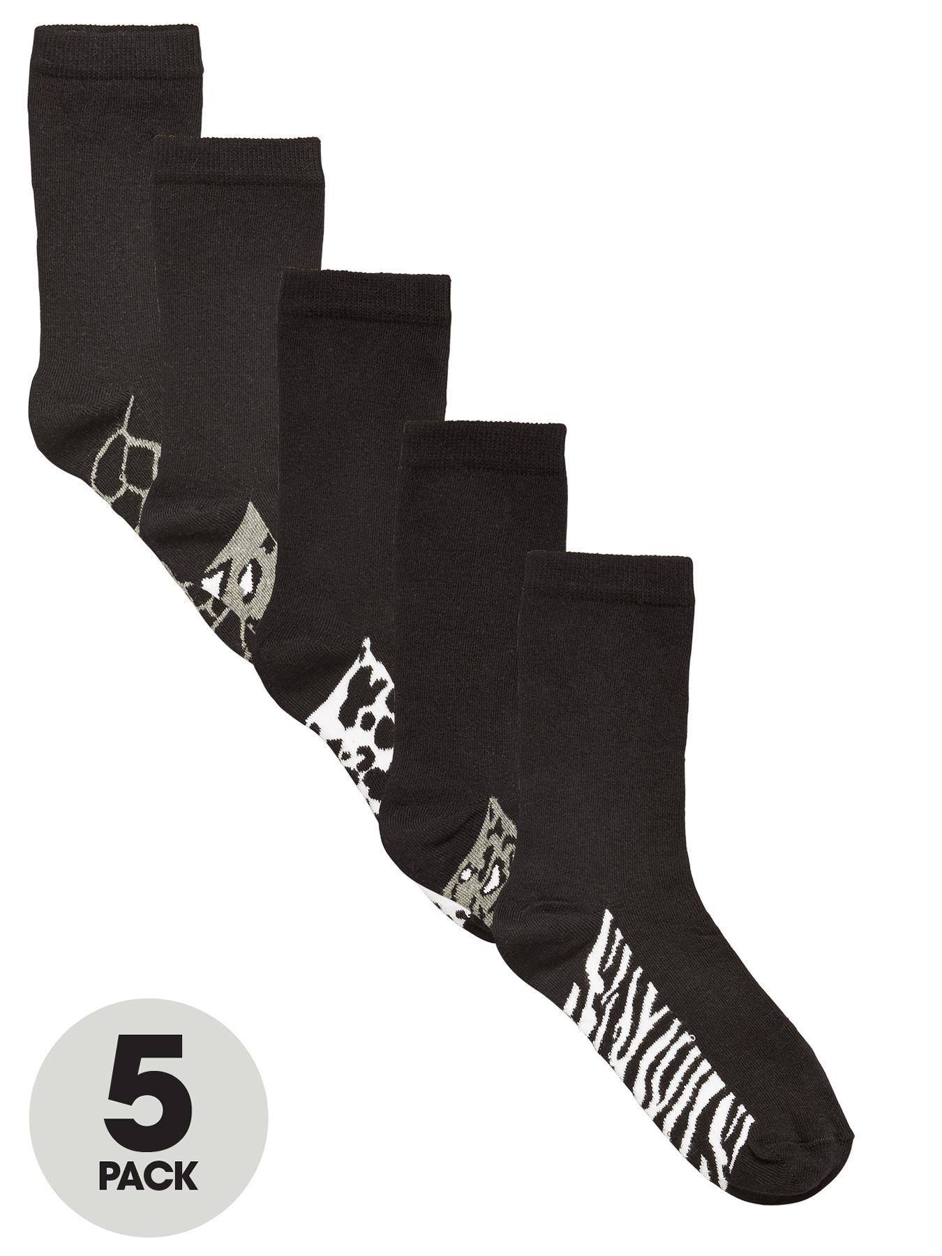 Animal Footbed Crew Socks (5 Pack), Black at Littlewoods