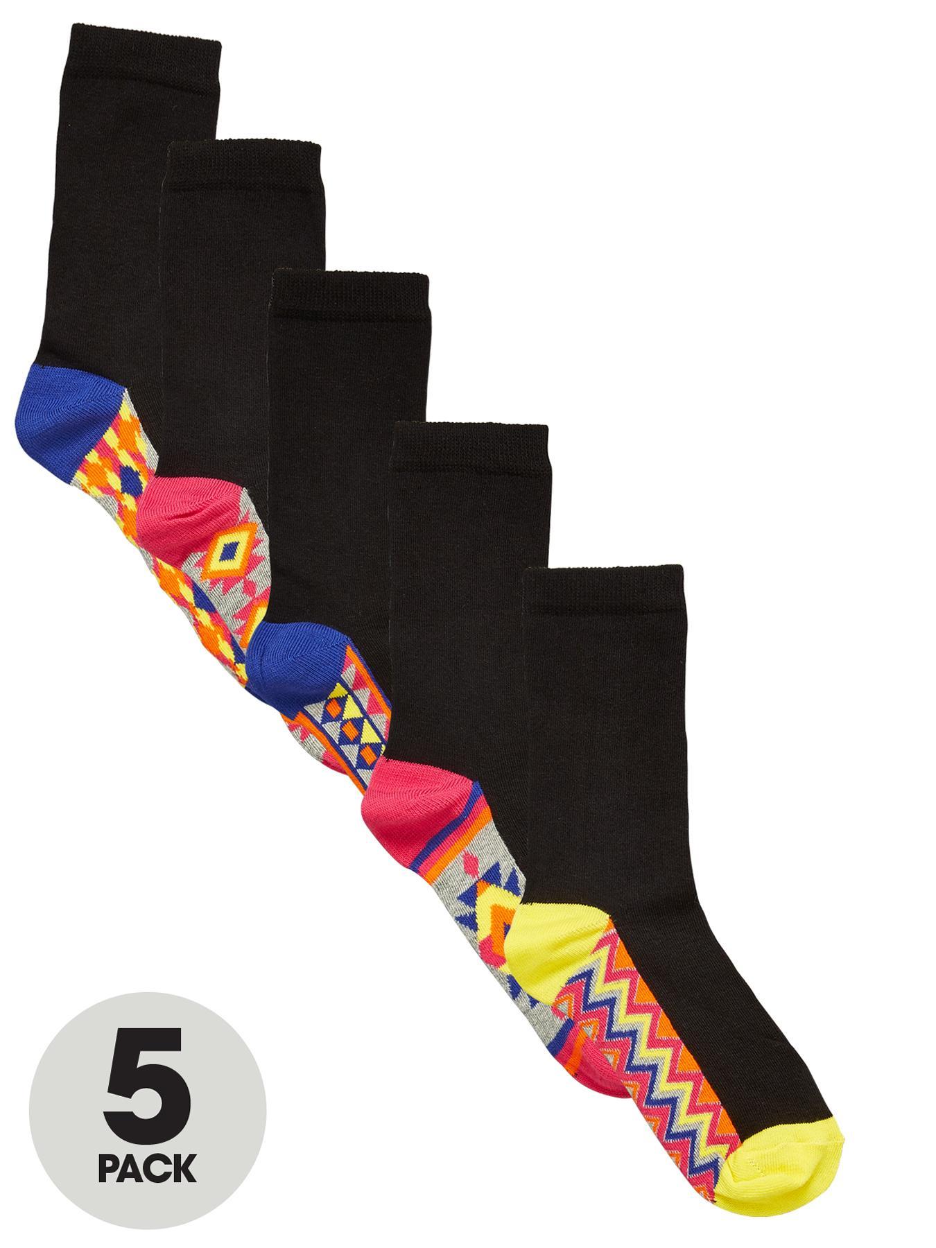 Aztec Footbed Crew Socks (5 Pack), Black at Littlewoods