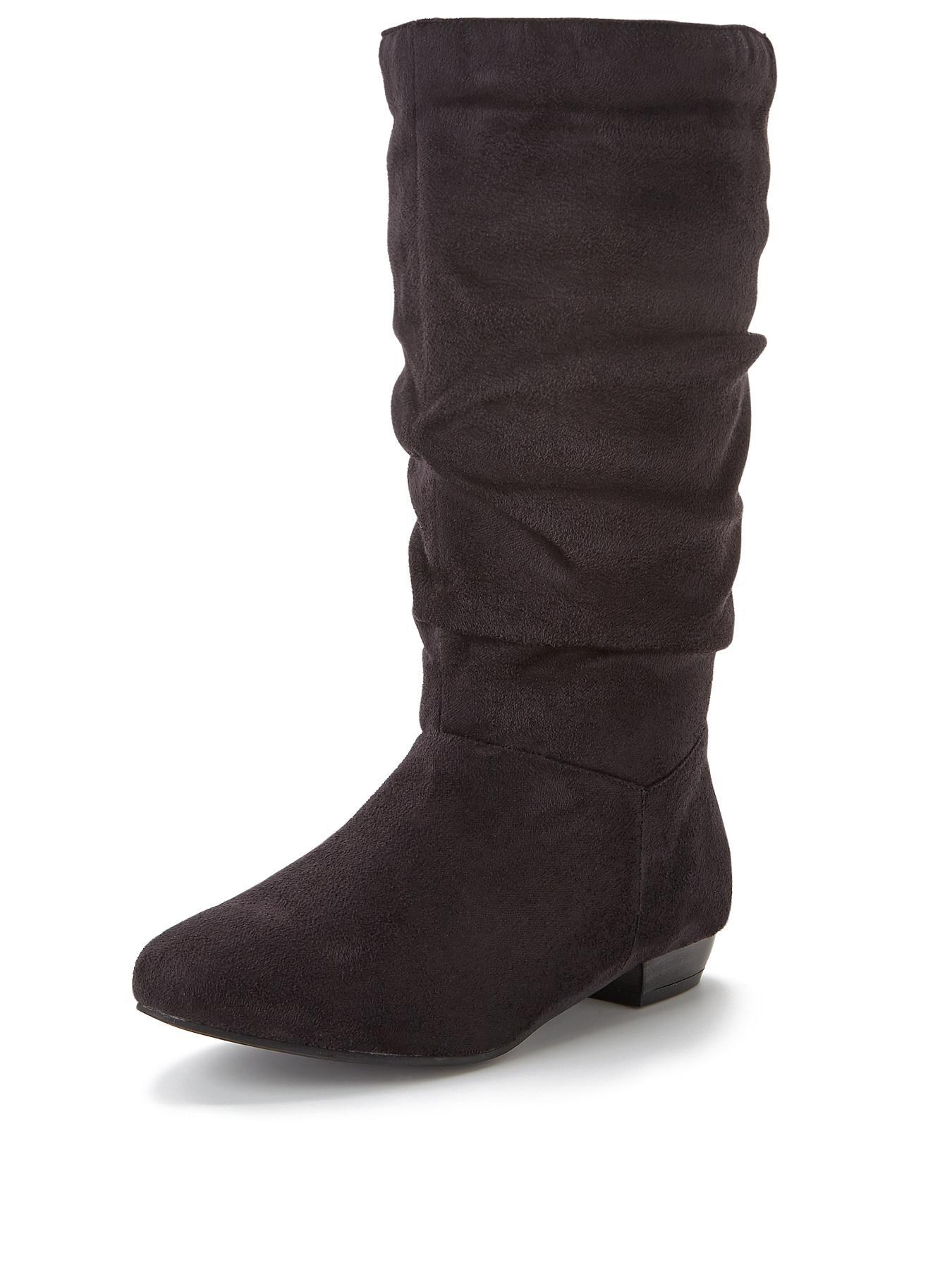 Melissa Flat Slouch Calf Boots Black