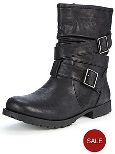 shoe-box-sonia-strappy-buckle-flat-casual-boots-black