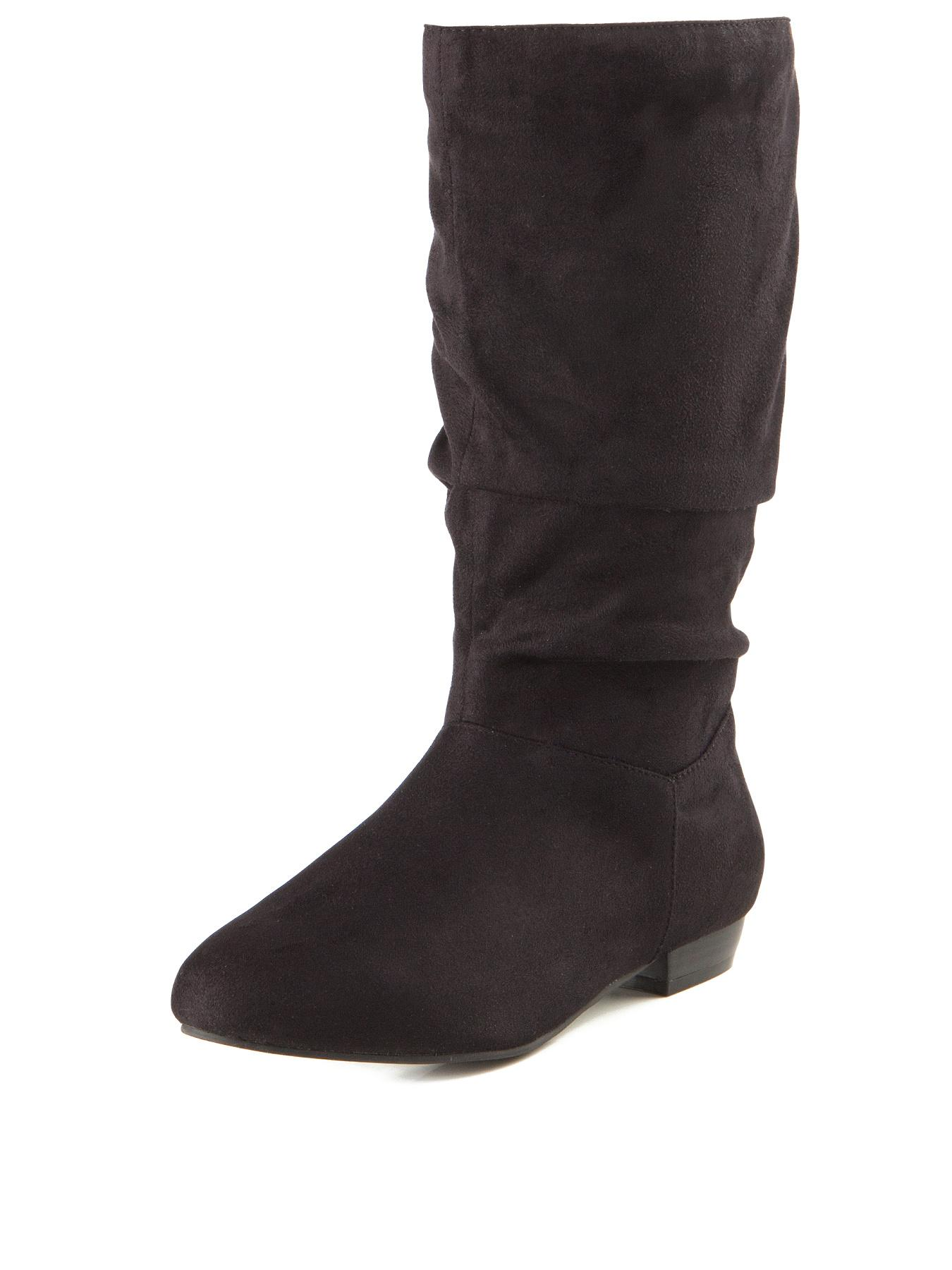 Michaela Extra Wide Fit Flat Slouch Boots Black