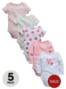 ladybird-baby-girls-bodysuits-marl-plain-and-spots-5-pack