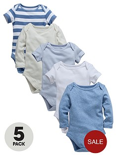 ladybird-baby-boys-long-sleeved-bodysuits-marl-stripe-and-plain-5-pack