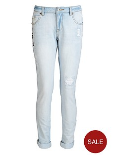 freespirit-girls-bleached-girlfriend-fit-jeans-with-rips-and-embroidery