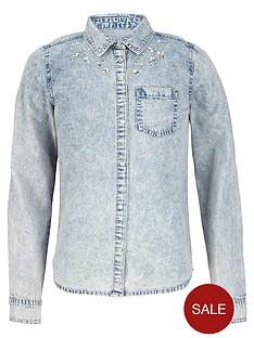freespirit-girls-acid-wash-diamanteacute-denim-shirt