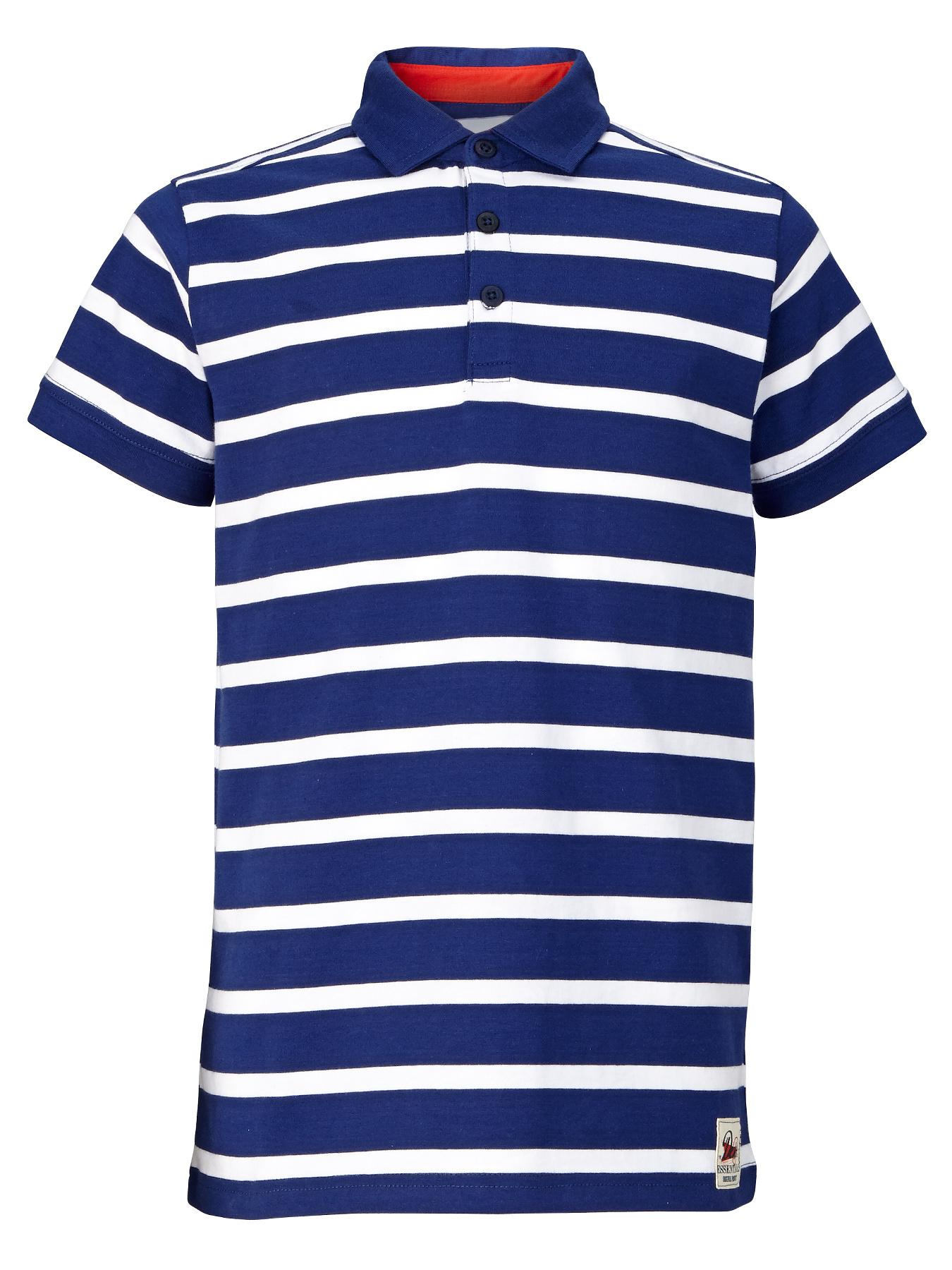 Boys Everyday Essentials Stripe Polo Shirt, Navy at Littlewoods
