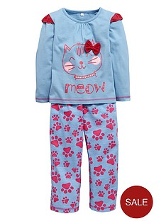 ladybird-girls-single-cat-pyjamas-set