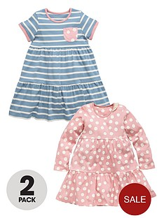 ladybird-girls-stripespot-jersey-dresses-2-pack
