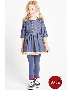 ladybird-girls-chambray-dress-and-leggings-set