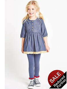 ladybird-girls-chambray-dress-and-leggings-set