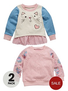 ladybird-toddler-girls-2-pack-cat-face-crew-neck-sweatshirts