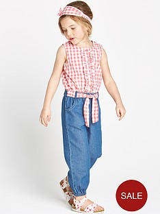 ladybird-girls-ginghamchambray-jumpsuit-and-headband
