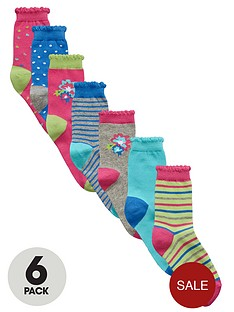 ladybird-girls-floral-socks-7-pack