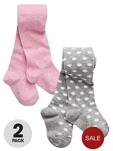 ladybird-girls-tights-pink-marl-and-grey-dobby-spot-2-pack