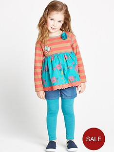 ladybird-girls-3-piece-applique-top-denim-shorts-and-leggings-set