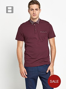 ted-baker-mens-short-sleeved-floral-woven-collar-polo-shirt